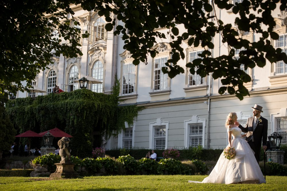 fairy-tale wedding salzburg schloss leopoldskron outside garden