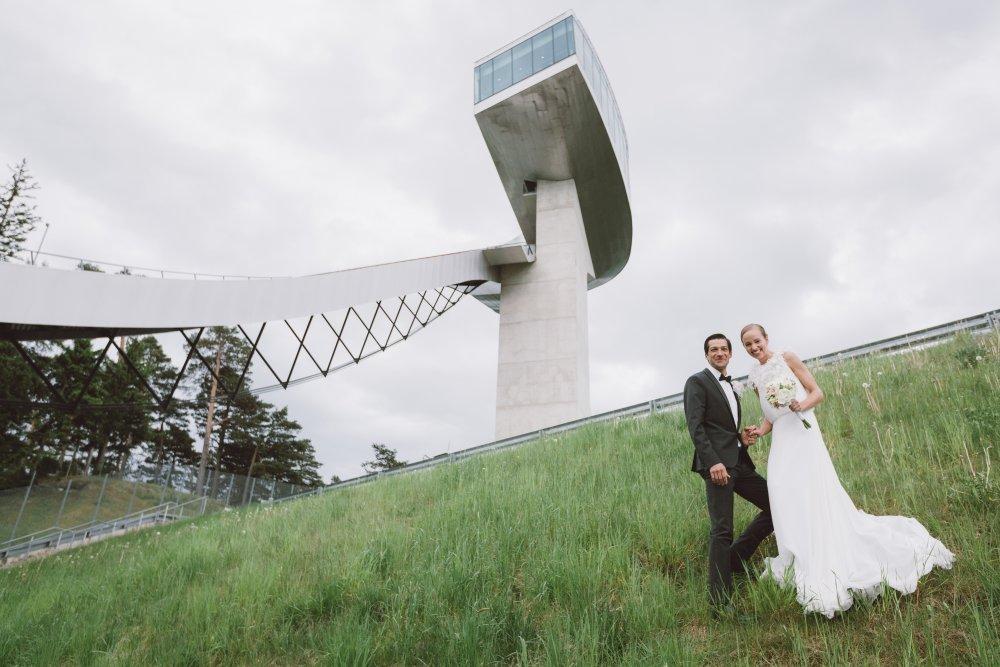 Ski Jump Innsbruck Bergisel bride and groom