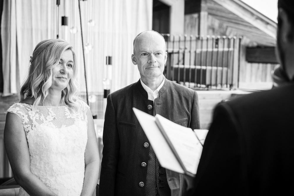 Mountain Wedding Salzburg Austria Tom Almhuette couple bw
