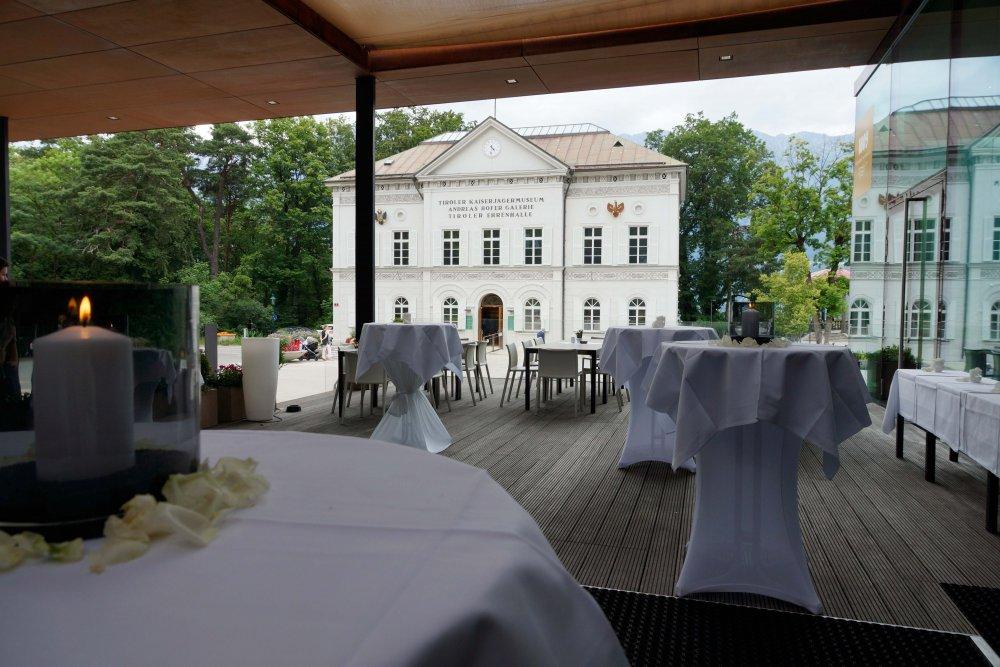 Ski Jump Innsbruck outside bar tables