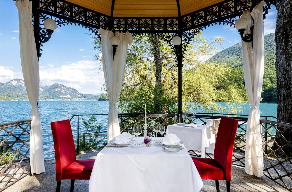 Lake Wedding Salzburg Austria Schloss Fuschl private dining elopement