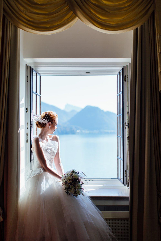 Lake Wedding Salzburg Austria Schloss Fuschl beautiful bride