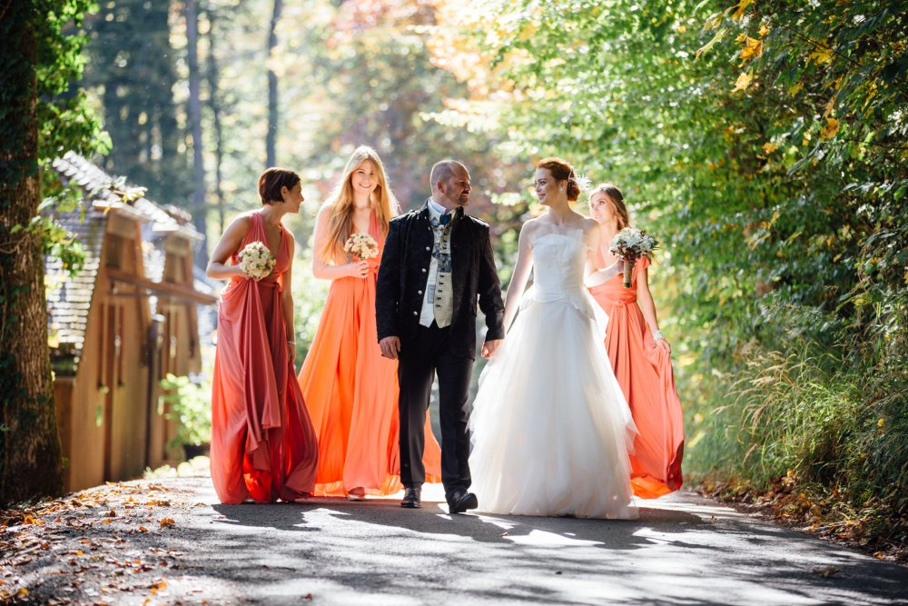 Lake Wedding Salzburg Austria Schloss Fuschl couple with bridesmaids