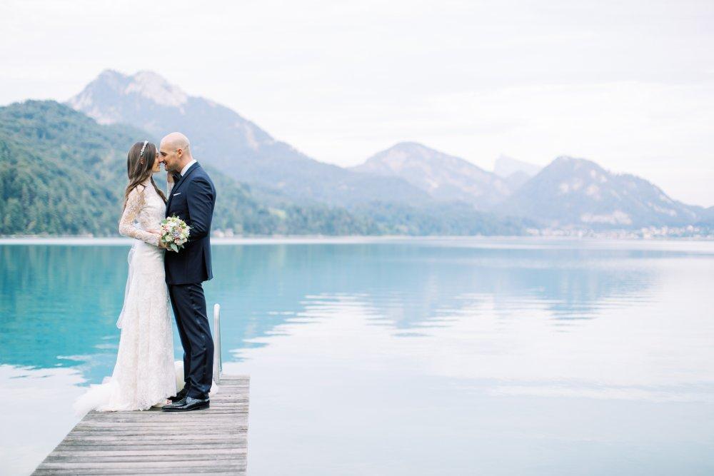Lake Wedding Salzburg Austria Schloss Fuschl couple lake