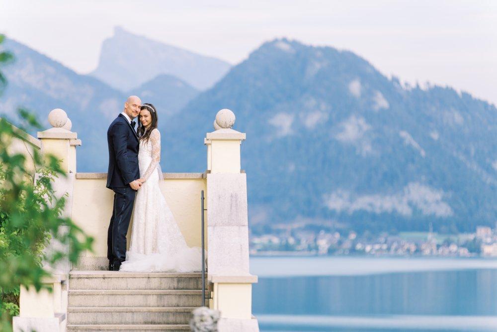 Lake Wedding Salzburg Austria Schloss Fuschl bridal couple