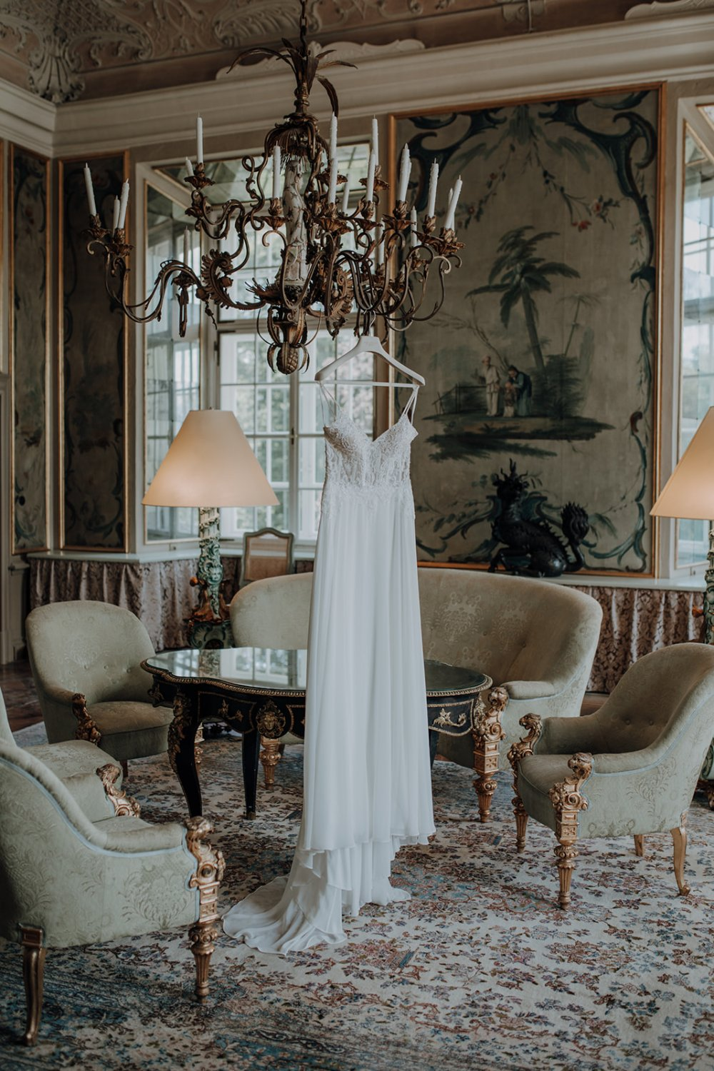 fairy-tale wedding salzburg schloss leopoldskron bridal dress