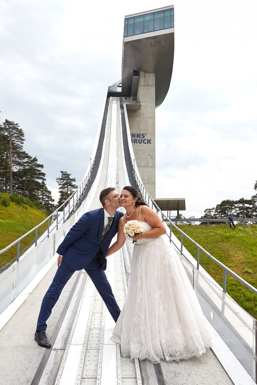 Ski Jump Innsbruck Bergisel couple in front of jump