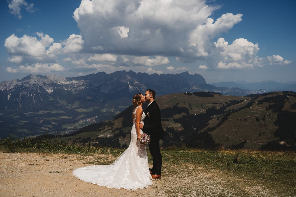 mountain wedding kitzbuehel austria couple view wide