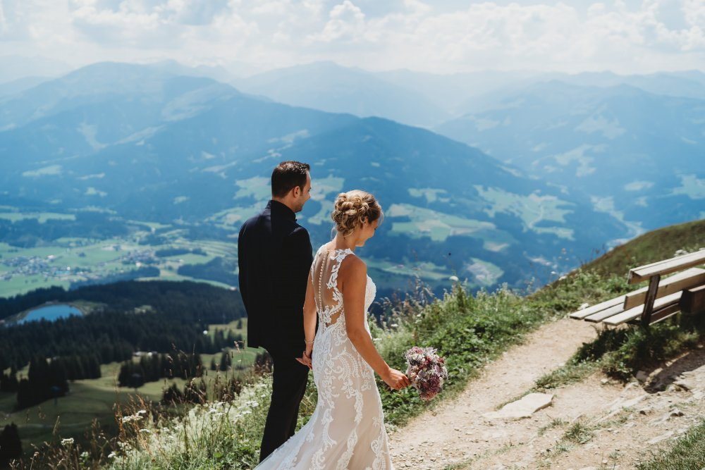 mountain wedding kitzbuehel austria couple view