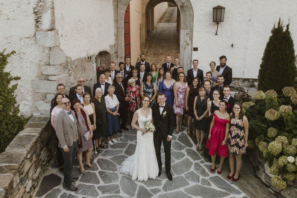 Castle wedding Austria Alps Schloss Mittersill wedding guests