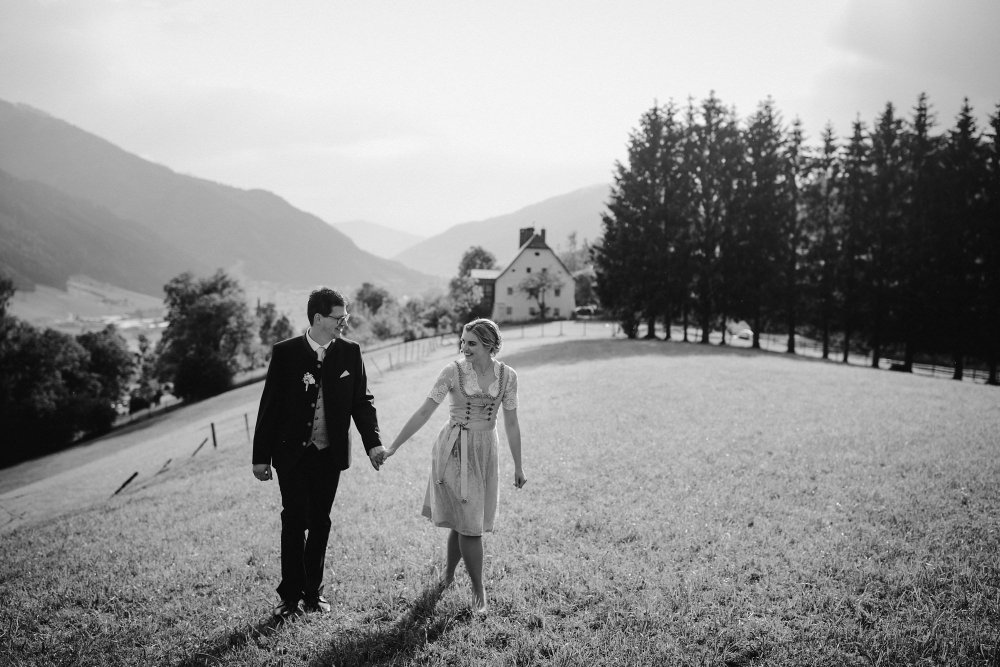 Castle wedding Austria Alps Schloss Mittersill couple bw